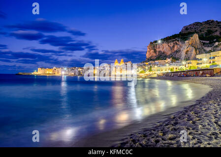 Cefalu, Sicily. Ligurian Sea and medieval sicilian city Cefalu. Province of Palermo, Italy. - Stock Photo