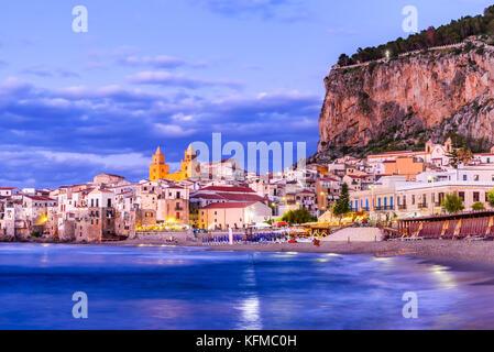 Cefalu, Sicily. Ligurian Sea and medieval sicilian city Cefalu. Province of Palermo, Italy. - Stock Photo