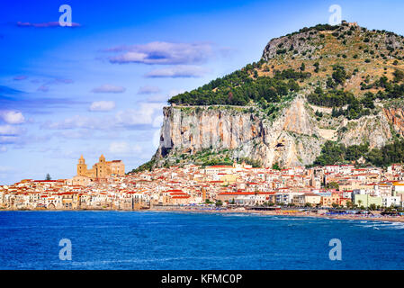 Cefalu, Sicily. Ligurian Sea and medieval sicilian city. Province of Palermo, Italy. - Stock Photo