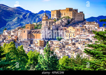 Caccamo, Sicily. Medieval italian city with the Norman Castle in Sicily mountains, Italy. - Stock Photo