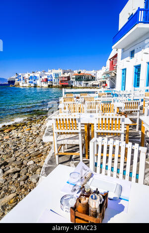 Mykonos - Little Venice waterfront houses, considered one of the most romantic places on the island of Aegean Sea. - Stock Photo