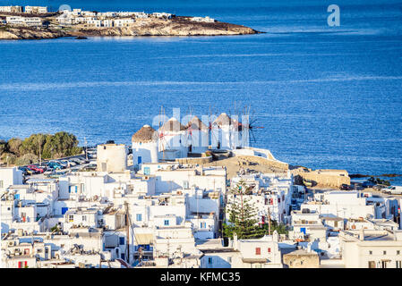 Mykonos, Greece. Windmills are iconic feature of the Greek island of the Mykonos, Cyclades Islands. - Stock Photo