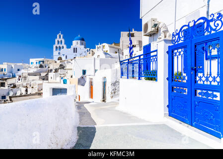 Pyrgos, Santorini, Greece. Famous attraction of white village with cobbled streets, Greek Cyclades Islands, Aegean - Stock Photo