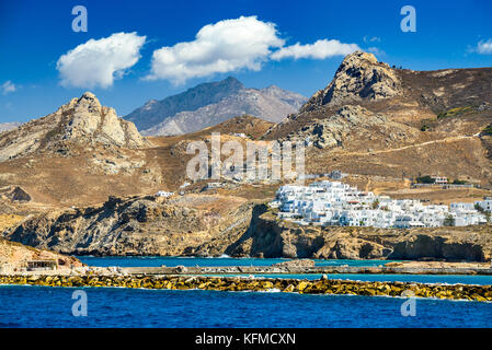 Naxos, Greek Islands. Sunny summer landscape with rocky island, Cyclades in Greece. - Stock Photo