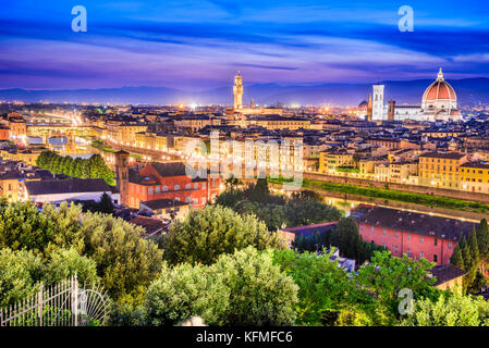 Florence, Tuscany - Night scenery with Duomo Santa Maria del Fiori and Palazzo Vecchio, Renaissance architecture - Stock Photo