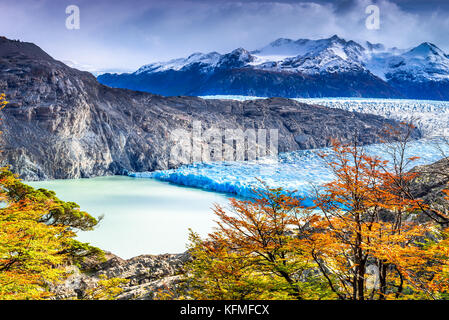 Patagonia, Chile - Grey Glacier is a glacier in the Southern Patagonian Ice Field on Cordillera del Paine - Stock Photo