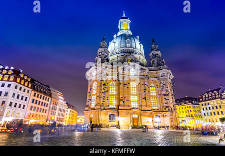 Dresden, Germany. Frauenkirche, city of Dresda, historical and cultural center of Free State of Saxony in Europe. - Stock Photo