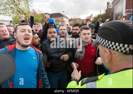 St Andrew's, Coventry Road, Bordesley, Birmingham, West Midlands, UK. 29th October 2017. Pre-match tensions are - Stock Photo