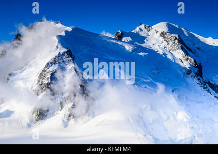 Mont Blanc, France - Highest mountain of Europe, Chamonix, Haute-Savoie glacier landscape. - Stock Photo
