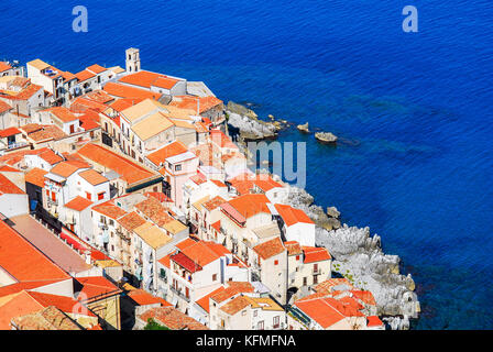 Cefalu, Sicily. Aerial medieval view of sicilian city Cefalu. Province of Palermo, Italy. - Stock Photo