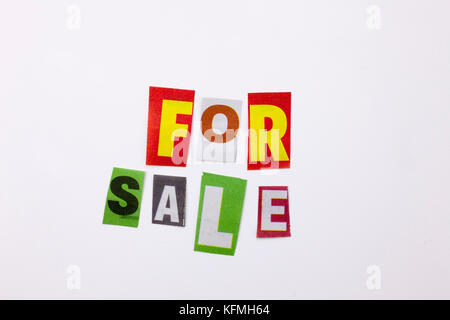 A word writing text showing concept of for sale made of different magazine newspaper letter for Business case on - Stock Photo