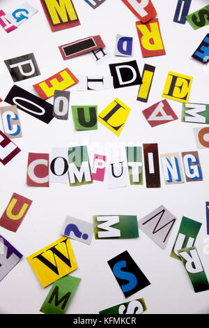A word writing text showing concept of CLOUD COMPUTING made of different magazine newspaper letter for Business - Stock Photo