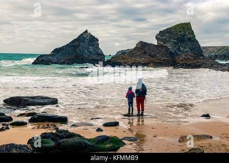 Bedruthen at high tide during the mid October Atlantic swells. Editorial, Bedruthen Steps, National Trust Land, - Stock Photo