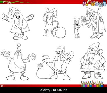 Coloring Book Cartoon Illustration Of Black And White Collection With Santa Claus Christmas Characters