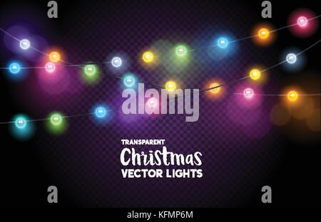 A collection of colourful Christmas fairy lights. Vector illustration. - Stock Photo