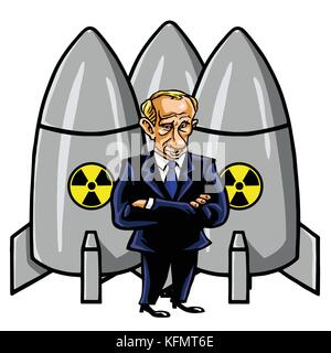 Vladimir Putin Cartoon with Nuclear Missiles. Vector Illustration. October 31, 2017 - Stock Photo