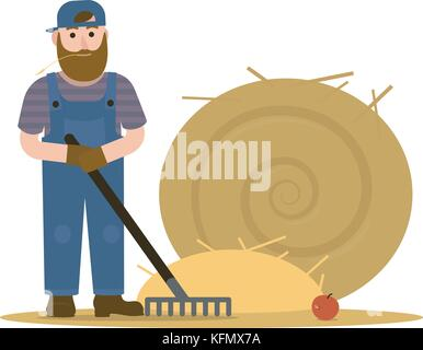 Farmer redneck with beard in overalls and baseball cap hat working with rake and a round sheaf of hay. Vector Illustration, - Stock Photo