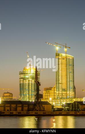 Night view of sea port in Baku Azerbaijan - Stock Photo