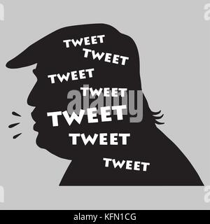 Donald Trump Tweets. Vector Illustration Silhouette. November 1, 2017 - Stock Photo