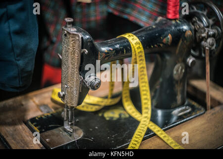 Antique Sewing Machine, shot with very old Vintage Lens - Stock Photo