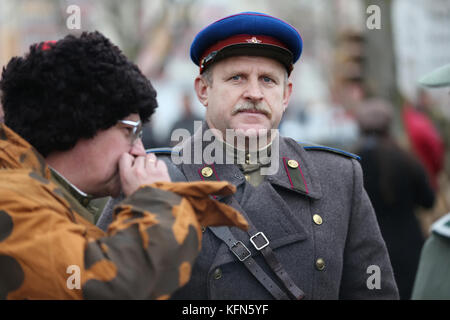 Belarus, Gomel, November 21, 2016, Reconstruction of the battle of the Second World War. Soldat of the Red Army - Stock Photo