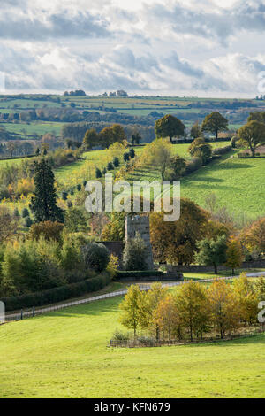 Little Rollright in the autumn morning sunlight, Cotswolds, West Oxfordshire, England - Stock Photo