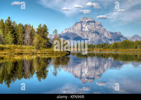 Mount Moran reflected in the water at riverbend view poinr Oxbow Bend - Stock Photo