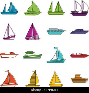 Boat and ship icons doodle set - Stock Photo