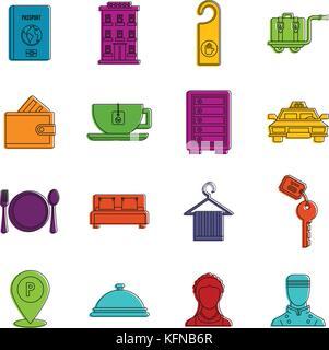 Hotel icons doodle set - Stock Photo