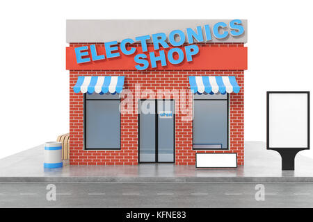 Exterior Facade Store Building, 3D Rendering · Electronics Store With Copy  Space Board Isolated On White Background. Modern Shop Buildings, Store
