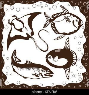 Ocean fish, vector set - Stock Photo