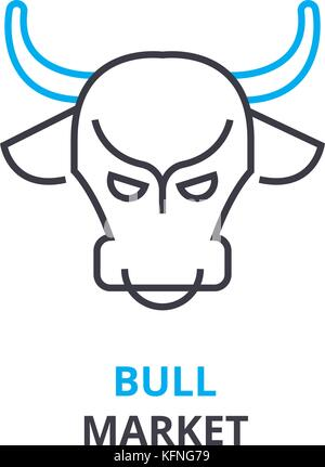 bull market concept , outline icon, linear sign, thin line pictogram, logo, flat illustration, vector - Stock Photo
