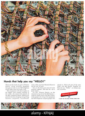 1954 U.S. advertisement for Bell telephone's Western Electric division. - Stock Photo