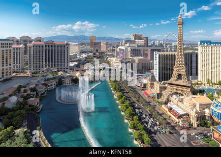 Aerial view of Las Vegas strip at sunny day - Stock Photo