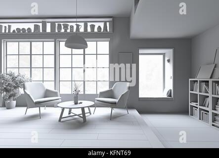 Modern interior. White rendering concept. 3d illustration - Stock Photo