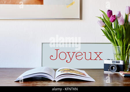 vintage table decoration in kitchen - Stock Photo