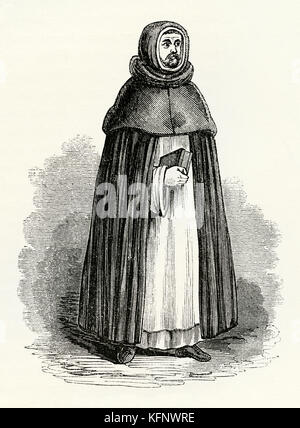 An old engraving depicting a Blackfriars monk in Medieval times. In England and other countries the Dominican friars - Stock Photo