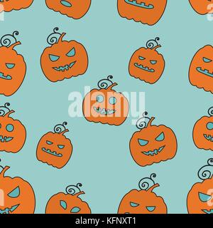 Seamless Halloween Pattern with Pumpkins on color background. - Stock Photo