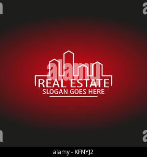 Real Estate And Construction Logo with Black and Red Backgrounds, Vector, Illustrator - Stock Photo
