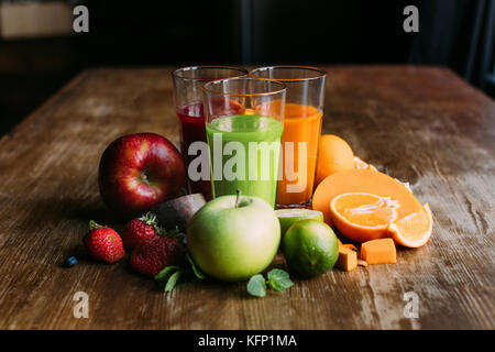 various smoothies in glasses - Stock Photo