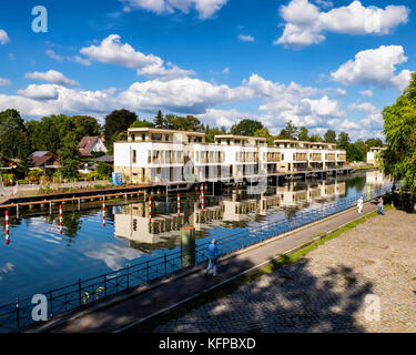 Berlin,Tegel lake,Tegeler see,Modern luxury new homes with roof terraces and boat mooring area on Humboldt island - Stock Photo