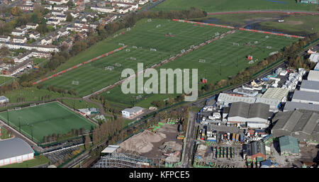 aerial view of Liverpool FC Academy, UK - Stock Photo