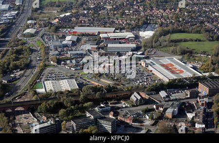 aerial view of the B&Q at Stockport - Stock Photo