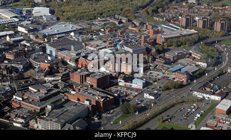 aerial view of Stoke city centre, Staffordshire, UK - Stock Photo