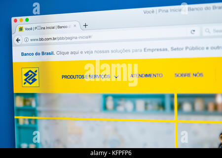LONDON, UK - OCTOBER 25TH 2017: The homepage of the official website for Banco do Brasil, on 25th October 2017. - Stock Photo
