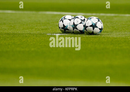 Balls before the start of the match at Wanda Metropolitan Stadium. UCL Champions League between Atletico de Madrid - Stock Photo