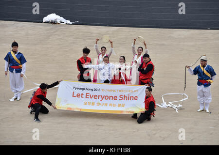 Athens, Greece, 31st October, 2017. Korean performers hold a banner during the handover ceremony of the Olympic - Stock Photo