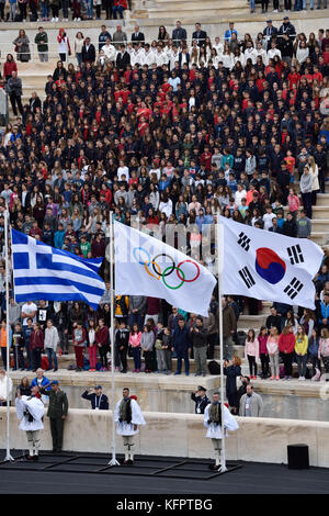 Athens, Greece, 31st October, 2017. People watch the handover ceremony of the Olympic Flame for the PyeongChang - Stock Photo