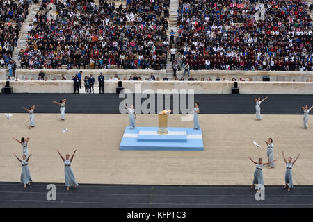 Athens, Greece, 31st October, 2017. Priestesses perform during the handover ceremony of the Olympic Flame for the - Stock Photo