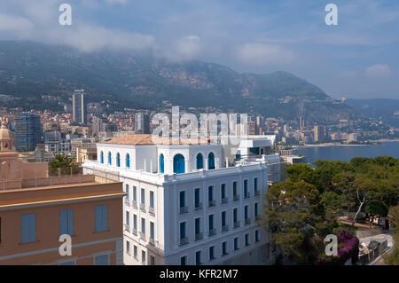 View of Monte Carlo bay from Monaco Aquarium - Stock Photo